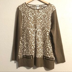 Chicos Leopard Print Wool Blend Tunic Sweater